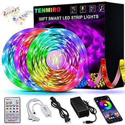 Amazon Com 50ft 15m Led Strip Lights Tenmiro Smart Led Lights Strip Smd5050 Music Sync Color Changing Rgb Lights In 2020 Led Strip Lighting Light App Strip Lighting