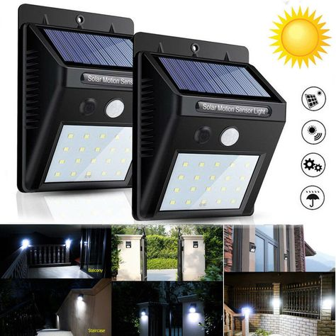 30 LED Solar Powered PIR Motion Sensor Light Outdoor Garden Security Wall Lights