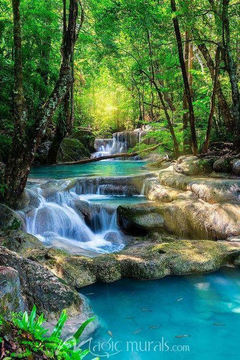 Tropical Blue Waterfalls Waterfall Wallpaper Nature Photography Beautiful Nature
