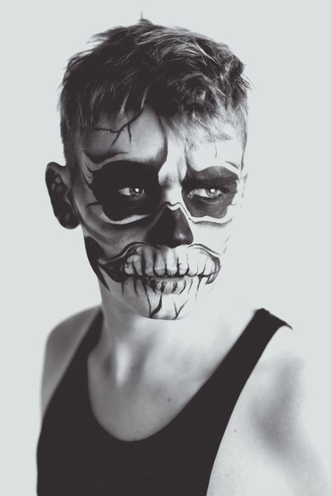 Skull makeup black and white makeup skull halloween adult costume ideas men's costume