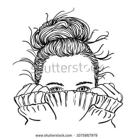 Sketch Of Portrait Of Teenage Girl With Bun Hairstyle Hiding Her