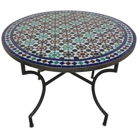 Moroccan Round Mosaic Tile Outdoor Table In Moorish Fez Design 1
