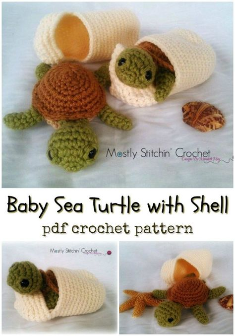 What a fun little crochet project! Baby Sea Turtle with Shell amigurumi crochet … What a fun little crochet project! Baby Sea Turtle with Shell amigurumi crochet pattern makes a perfect little interactive toy for a child! So fun! Cute Crochet, Crochet Crafts, Yarn Crafts, Crochet Baby, Crotchet, Diy Crafts, Funny Crochet, Crochet Fish, Kids Crochet