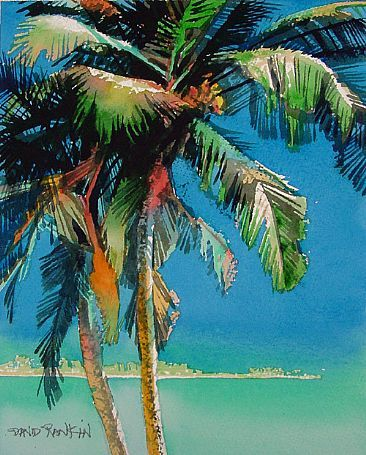 Tropical palm trees swaying in the breeze by the ocean, So Serene! South India Palms - Beach palms along India's south western coastline by David Rankin