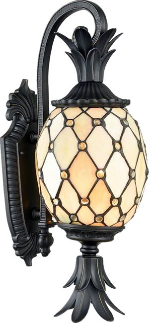 Dale Tiffany Tw17027 Essex Pineapple Stained Glass Outdoor Wall Sconce Bound Art Glass With Faceted Glass Jewels Shape Outdoor Lighting Art Nouveau Gold Lamp