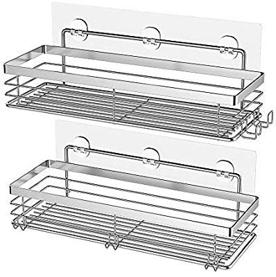 Adhesive Shower Caddy Basket with 5 Hooks Bathroom Organizer Shelf Kitchen 2pack