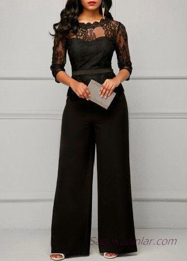 2019 Abiye Tulum Modelleri Siyah Yetim Kol Transparan Yaka Dantelli Siyah Tulum Kadin Ceketleri Elbiseler