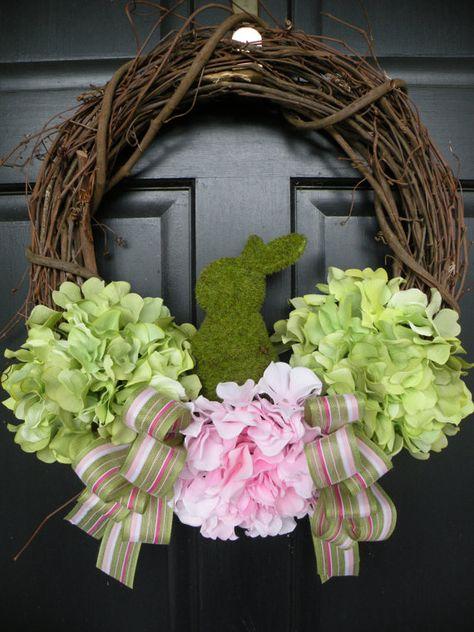 Moss Bunny Hydrangea Easter Wreath by Daulhouseshop on Etsy