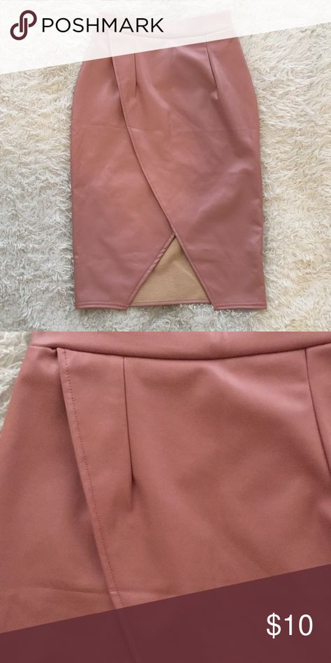 7141b67c1a NWOT Faux Leather Pink Skirt Length: 24.5 inches Width: 16 inches Skirts  Midi