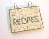 Vintage Recipe Flip File - Handmade Recipe Holder Plastic Canvas Kitchen Cooking Recipes Metal Ring Tabs Unique