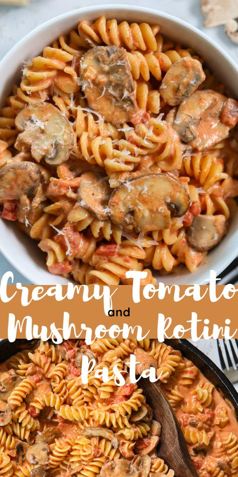 You have to try this savory and delicious Creamy Tomato and Mushroom Rotini Pasta! Versatile and vegetarian, it uses simple ingredients, yet is so tasty. #Creamytomato #Rotinipasta #pasta # tomatomushroomrotinipasta