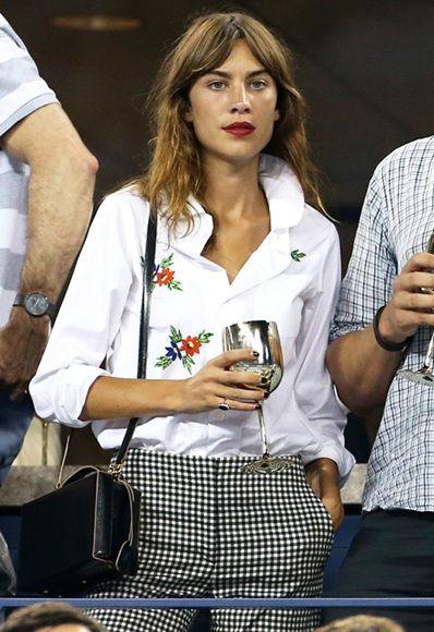 alexa chung wears white embroidery shirt