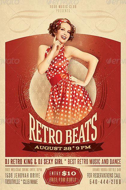 Fancy Retro Beats Flyer Template http\/\/clubpartyflyer\/fancy - retro flyer templates