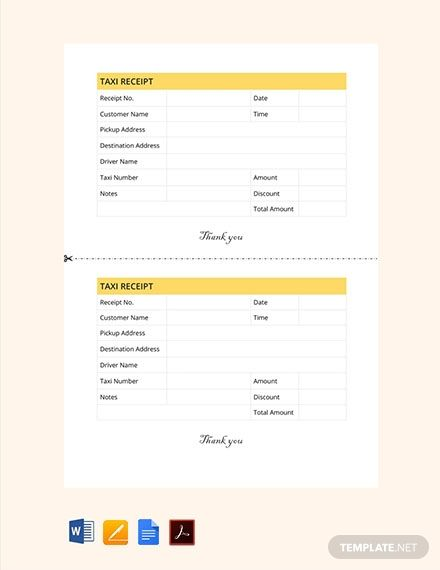 Instantly Download Free Taxi Receipt Template Sample Example In Pdf Microsoft Word Doc Apple Pages Format Available Receipt Template Templates Word Doc