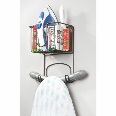Wall Mount Iron Ironing Board Holder Storage Basket 8 Wide In