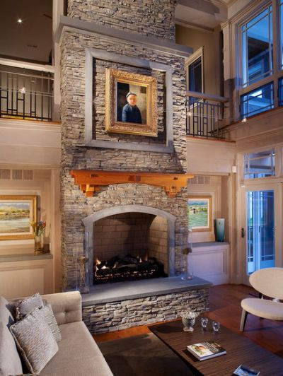 Stacked Stone Fireplace Houzz With Images Stacked Stone