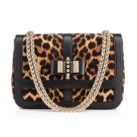 811754616549 SWEET CHARITY SMALL NU ,LEOPARD/BLACK,Printed Pony,Women Bags,Louboutin.