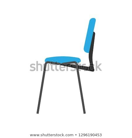 Chair Blue Side View Wooden Vector Icon Office Comfortable Symbol Furniture Equipment Flat Illustration Vector Wooden