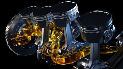 3d Illustration Of Car Engine With Lubricant Oil On Repairing