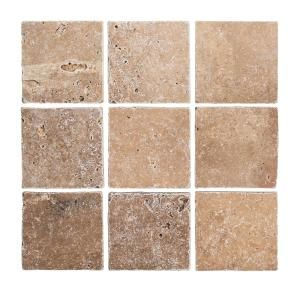 Jeffrey Court Travertino Noce Browns Tans 4 In X 4 In Tumbled Travertine Wall And Floor Tile 1 Sq Ft Pack 67543 The Home Depot Travertine Wall Tiles Travertine Jeffrey Court