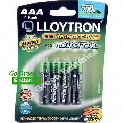 4 X Lloytron Aaa 550 Mah Rechargeable Batteries Solar Light Dect Phone Hr03 Lr03 Solar Battery Rechargeable Batteries Recharge