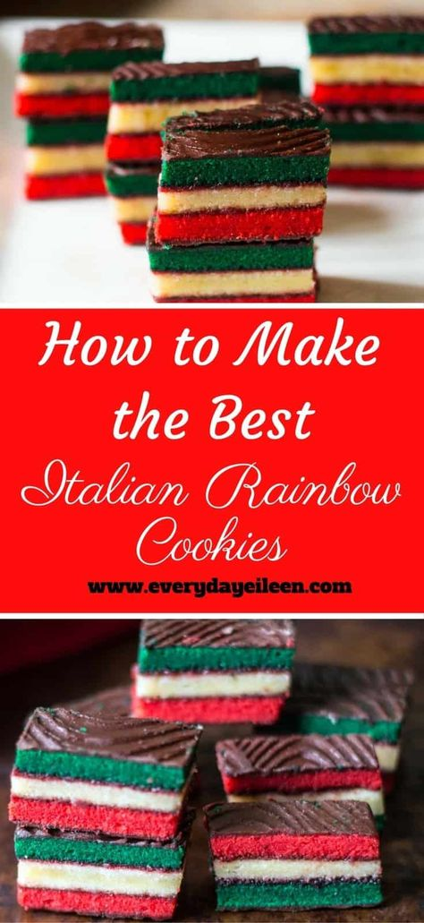 How to Make the Best Italian Rainbow Cookies talian Rainbow Cookies are so popular at many bakeries .Make them at home for an even better flavor ! Perfect for Holidays and family gatherings Italian Cookie Recipes, Italian Cookies, Italian Desserts, Italian Meals, Italian Pastries, Italian Christmas Cookies, Holiday Cookies, Greek Christmas, Holiday Baking