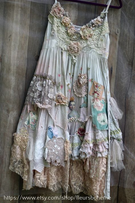 Off white, cream , pale gray cotton dress is vintage upcycled, boho chic, tatter. - Fashion that needs attention and major work - Boho Gypsy, Bohemian Style, Boho Chic, Shabby Chic, Vintage Outfits, Vintage Dresses, Silk Flowers, Embroidered Flowers, Altered Couture