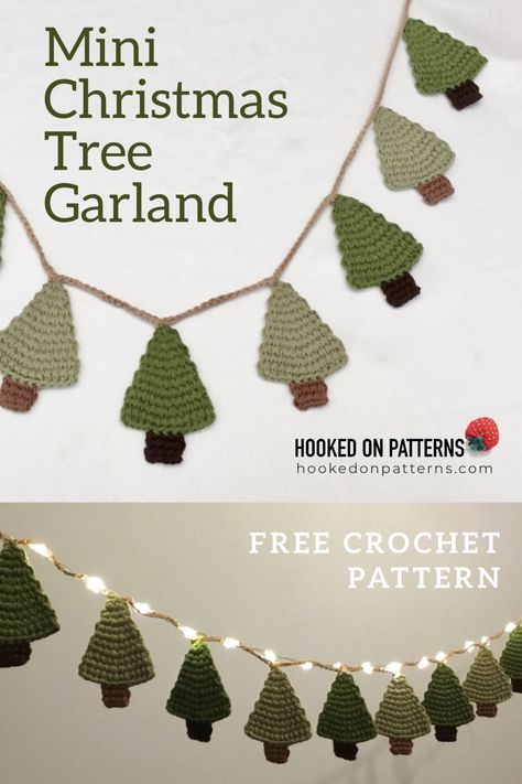 Free Christmas Tree Crochet Pattern - Make this elegant Christmas Garland decorations, a Free crochet pattern by Ling Ryan. Christmas Craft Ideas from Hooked On Patterns #Crafts #ChristmasTree #Christmas #Crochet - EASY AND GREAT FOR BEGINNERS!