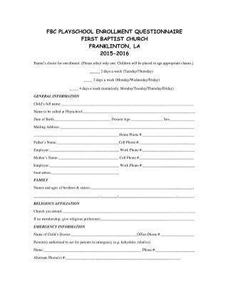 Fbc PlaySchool Registration 2015 registration form Pinterest - registration forms