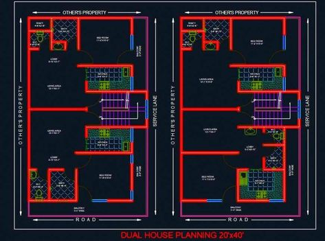 Dual House Planning Floor Layout Plan 20 X40 Dwg Drawing House Plans 2bhk House Plan Home Design Floor Plans