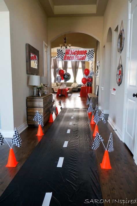 Race Car Birthday – SAROM INspired - Fitness and Exercises, Outdoor Sport and Winter Sport Hot Wheels Party, Hot Wheels Birthday, Race Car Birthday, Race Car Party, Dirt Bike Birthday, Car Themed Parties, Cars Birthday Parties, Car Themed Birthday Party, 2nd Birthday Party For Boys