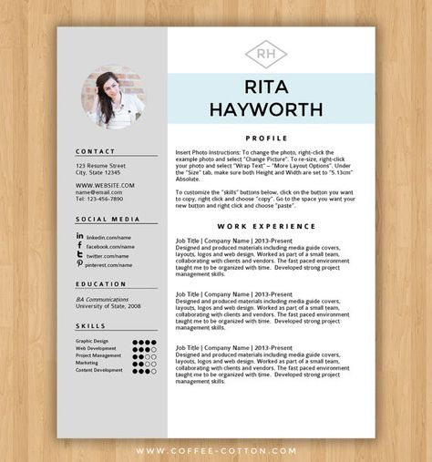 Resume Templates Word ☆ Instant Download ☆ Resume Template  Cv Template For Ms Word