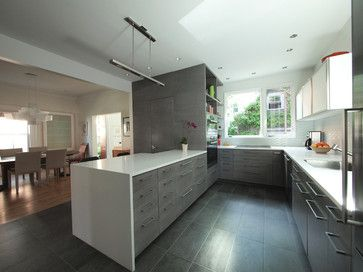Contemporary Gray Kitchen Cabinets modern kitchen; gray cabs with white counters (studiohw | heather