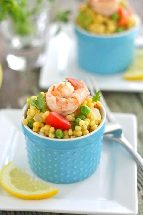 Warm paella couscous salad and shrimp.  #fingerfood #shopfesta
