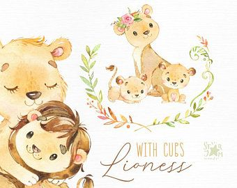 It S A Girl Newborn Cubs Watercolor Little Animal Clipart Etsy In 2021 Animal Clipart Cute Illustration Lion Family