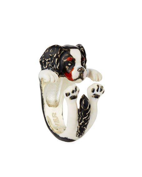 Dog Fever Cavalier King Charles Spaniel Enameled Dog Hug Ring, Size 6