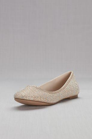 Crystal and Pearl Ballet Flats   Satin