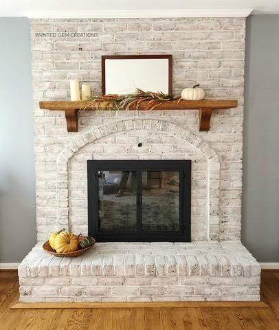 White Wash Brick Fireplace, Painted Brick Fireplaces, Paint Fireplace, Brick Fireplace Makeover, Fireplace Design, Brick Wall, Brick Fireplace Remodel, Fireplace Ideas, Reface Brick Fireplace