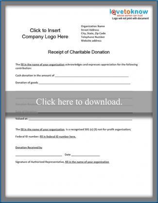 Charitable Donation Receipt Lovetoknow Charitable Donations Receipt Template Charitable