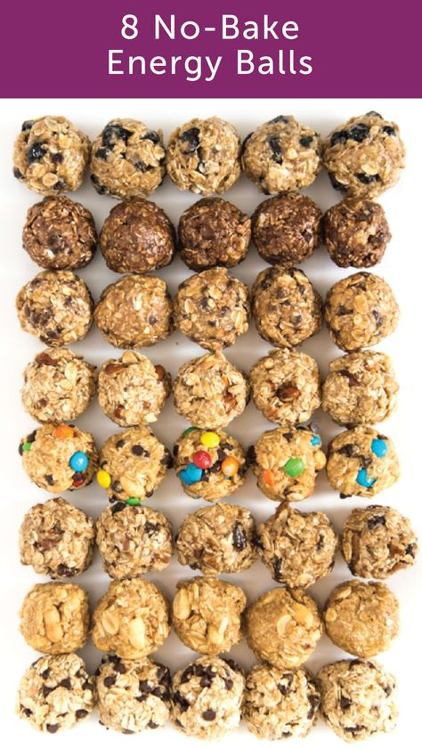 Your snack game will never be the same once you try these no-bake oatmeal energy balls. Includes eight flavor options, as well as tips for making your own. snacks Monster Cookie No-Bake Oatmeal Energy Balls Healthy Energy Ball Recipe, Paleo Energy Balls, Food For Energy, Energy Snacks, Def Not, Baked Oatmeal, Oatmeal Bars Healthy, No Bake Oatmeal Bars, Oatmeal Recipes