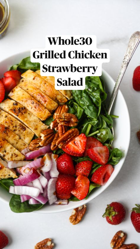 Whole30 Grilled Chicken Strawberry Salad