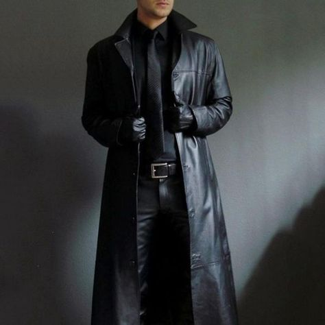 Men's Fashion Single-breasted Turndown Collar Leather Solid Color Overcoat
