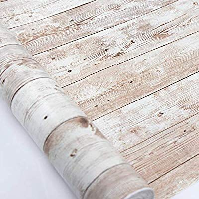 Amazon Com White Wood Contact Paper 17 71 In X 118 In Self Adhesive Removable Wood Peel And S Removable Wood Wallpaper Wood Wallpaper Peel And Stick Wallpaper