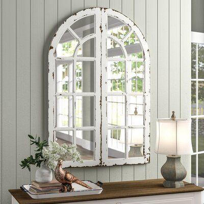 August Grove 2 Piecehovis Window Panels Cottage Mirror Set In 2020 Cottage Mirrors Mirror Set Faux Window