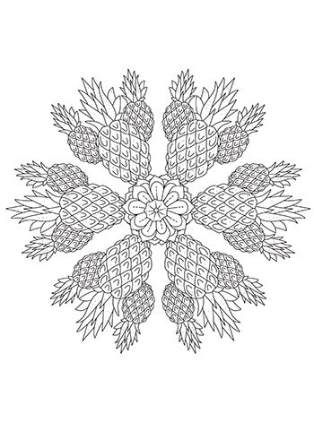 Free Printable Pineapple Bliss Mandala Coloring Page Mandala