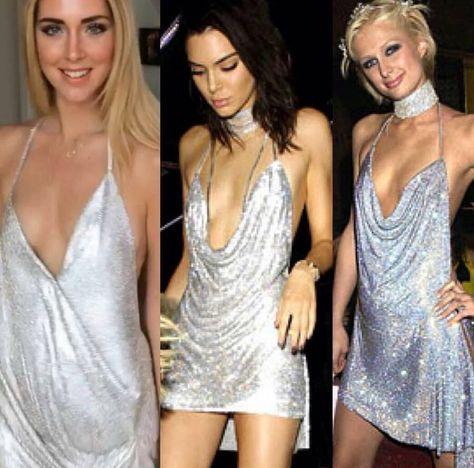 Celebrity Style Metallic Silver Party Dress CS112