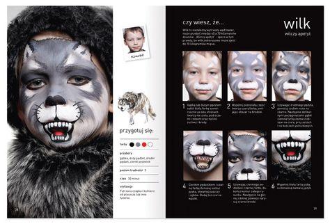 "Grey is the best. Page from the book about facepainting ""Malujemy Świat"". Follow the wolf www.szkolamakijazu.com"