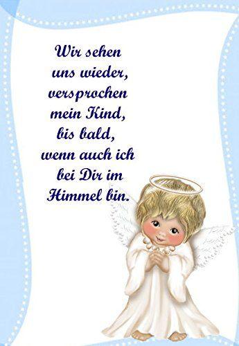 Trauer Dankekarten Kind Sternenkind Engel mit ihrem Text und optimierten Bild