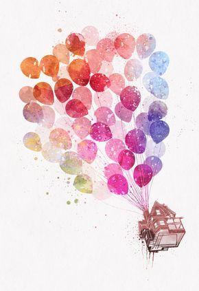 Disney Pixar Up Flying House With Balloons Watercolor Splatter Art
