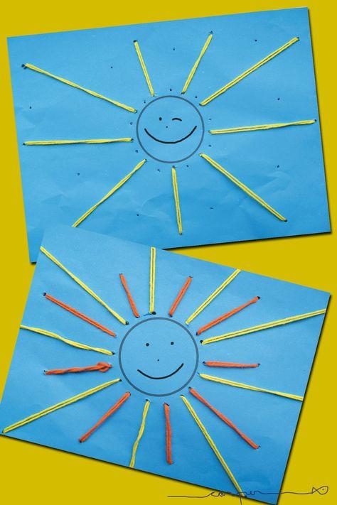 een zonnetje borduren.